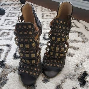 Not Rated Studded Leather Heels - 7
